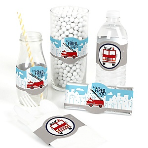 Fired Up Fire Truck - DIY Party Supplies - Firefighter Firetruck Baby Shower or Birthday Party DIY Wrapper Favors and Decorations - Set of 15
