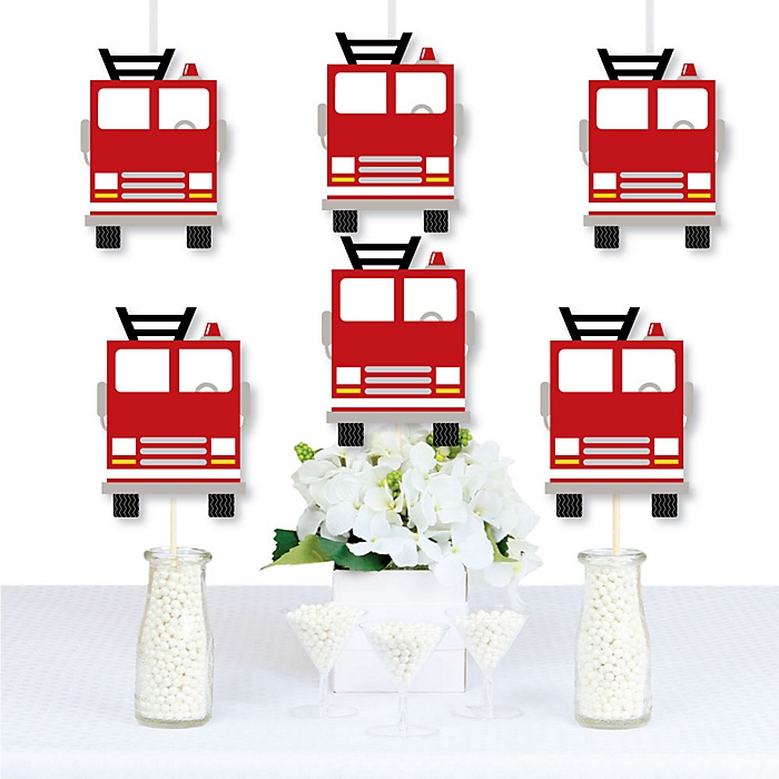 Fired Up Fire Truck - Decorations DIY Firefighter Firetruck Baby Shower or Birthday Party Essentials - Set of 20