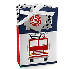 Fired Up Fire Truck - Personalized Firefighter Firetruck Party Favor Boxes - Set of 12