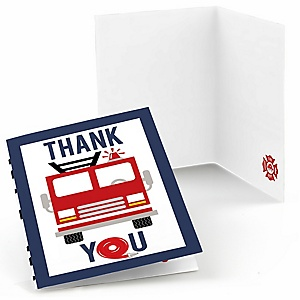 Fired Up Fire Truck - Firefighter Firetruck Baby Shower or Birthday Party Thank You Cards  - 8 ct