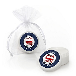 Fired Up Fire Truck - Personalized Firefighter Firetruck Party Lip Balm Favors - Set of 12