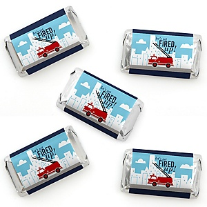 Fired Up Fire Truck - Mini Candy Bar Wrappers Stickers - Firefighter Firetruck Baby Shower or Birthday Party Small Favors - 40 Count