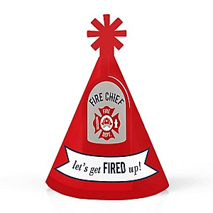 Fired Up Fire Truck - Personalized Mini Cone Firefighter Firetruck Baby Shower or Birthday Party Hats - Small Little Party Hats - Set of 10