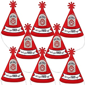 Fired Up Fire Truck - Mini Cone Firefighter Firetruck Baby Shower or Birthday Party Hats - Small Little Party Hats - Set of 8