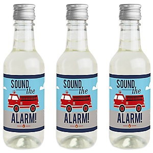Fired Up Fire Truck - Mini Wine and Champagne Bottle Label Stickers - Firefighter Firetruck Baby Shower or Birthday Party Favor Gift - For Women and Men - Set of 16