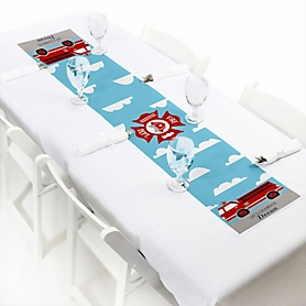 Fired Up Fire Truck - Personalized Firefighter Firetruck Party Petite Table Runner
