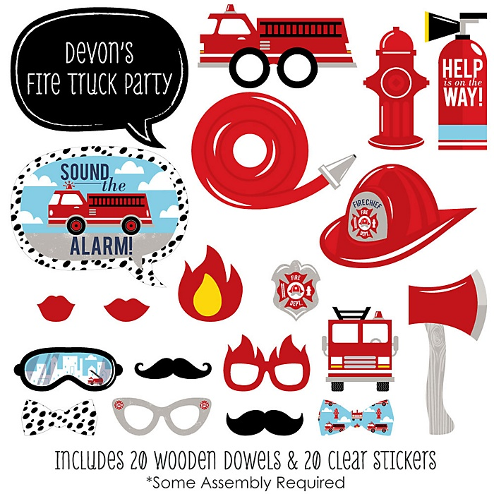 Fired Up Fire Truck - 20 Piece Firefighter Firetruck Baby Shower or Birthday Party Photo Booth Props Kit