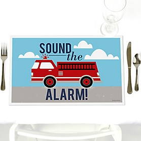 Fired Up Fire Truck - Firefighter Firetruck - Party Table Decorations - Party Placemats - Set of 12