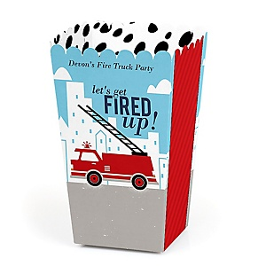 Fired Up Fire Truck - Personalized Firefighter Firetruck Baby Shower or Birthday Party Favor Popcorn Treat Boxes - Set of 12