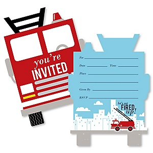 Fired Up Fire Truck - Shaped Fill-In Invitations - Firefighter Firetruck Baby Shower or Birthday Party Invitation Cards with Envelopes - Set of 12