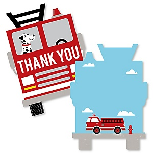 Fired Up Fire Truck - Shaped Thank You Cards - Firefighter Firetruck Baby Shower or Birthday Party Thank You Note Cards with Envelopes - Set of 12