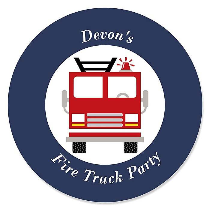 Fired Up Fire Truck - Personalized Firefighter Firetruck Baby Shower or Birthday Party Sticker Labels - 24 ct