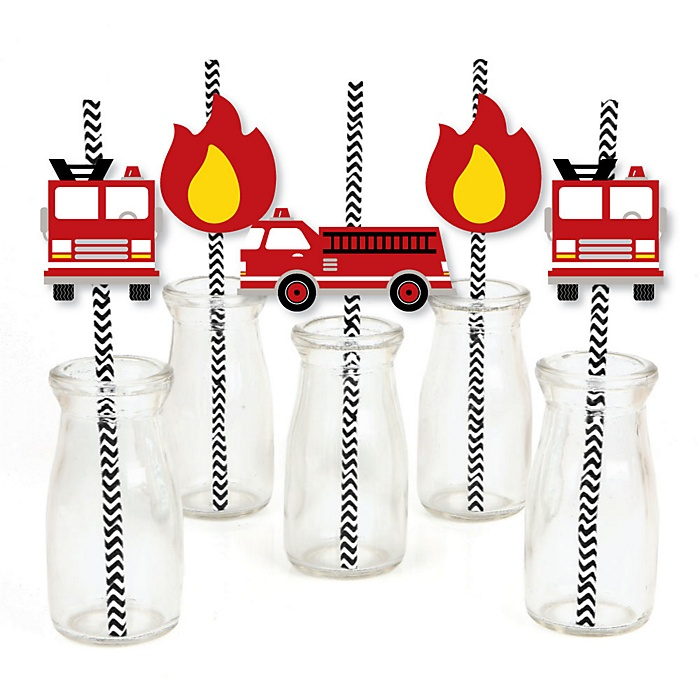 Fired Up Fire Truck - Paper Straw Decor - Firefighter Firetruck Baby Shower or Birthday Party Striped Decorative Straws - Set of 24