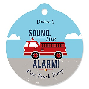 Fired Up Fire Truck - Round Personalized Firefighter Firetruck Party Tags - 20 ct