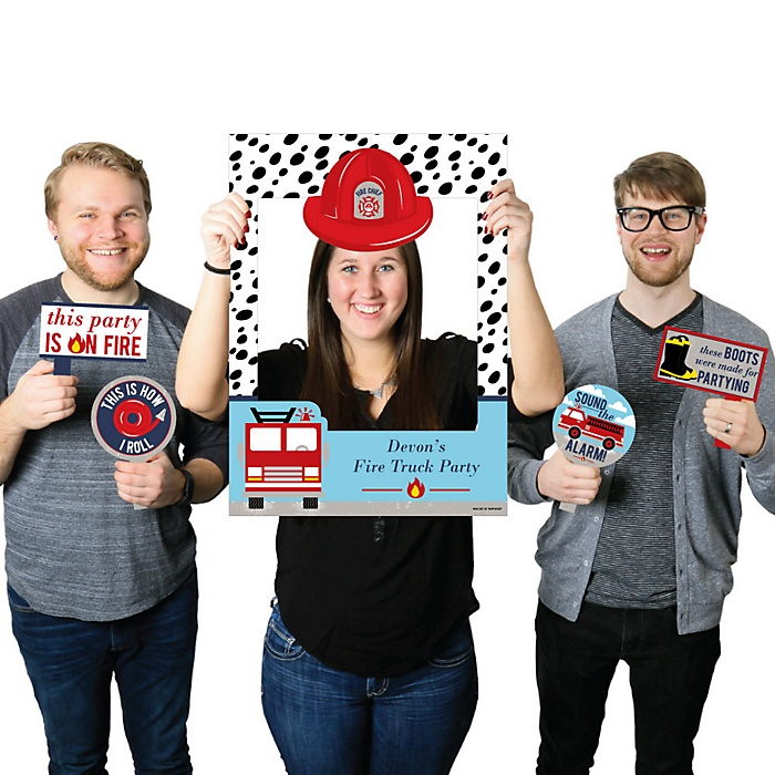 Fired Up Fire Truck - Personalized Firefighter Firetruck Baby Shower or Birthday Party Selfie Photo Booth Picture Frame and Props - Printed on Sturdy Material