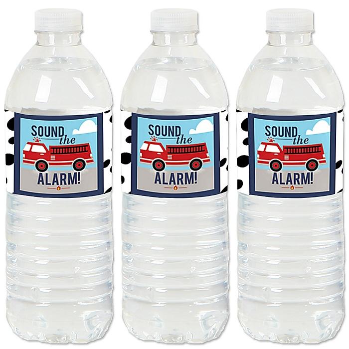 Fired Up Fire Truck - Firefighter Firetruck - Party Water Bottle Sticker Labels - Set of 20