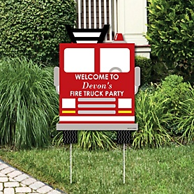 Fired Up Fire Truck - Party Decorations - Firefighter Firetruck Baby Shower or Birthday Party Personalized Welcome Yard Sign