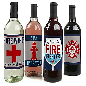 Fired Up Fire Truck - Firefighter Wine Bottle Gift Label - Firetruck Party Decorations for Women and Men - Wine Bottle Label Stickers - Set of 4