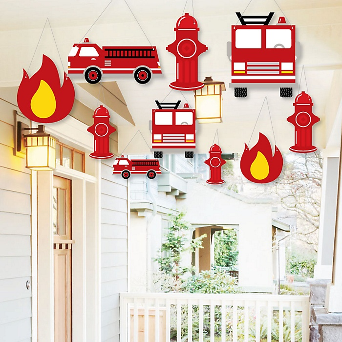 Hanging Fired Up Fire Truck - Outdoor Firefighter Firetruck Baby Shower or Birthday Party Hanging Porch and Tree Yard Decorations - 10 Pieces