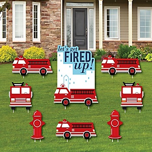 Fired Up Fire Truck - Yard Sign and Outdoor Lawn Decorations - Firefighter Firetruck Baby Shower or Birthday Party Yard Signs - Set of 8