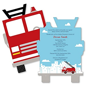 Fired Up Fire Truck - Shaped Firefighter Firetruck Baby Shower invitations - Set of 12