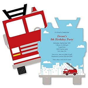 Fired Up Fire Truck - Shaped Firefighter Firetruck Birthday Party Invitations - Set of 12