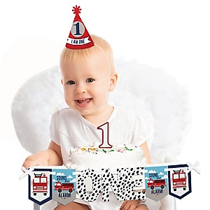 Fired Up Fire Truck 1st Birthday - First Birthday Boy Smash Cake Decorating Kit - High Chair Decorations