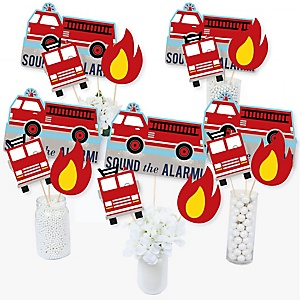 Fired Up Fire Truck - Firefighter Firetruck Baby Shower or Birthday Party Centerpiece Sticks - Table Toppers - Set of 15