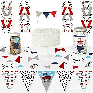 Fired Up Fire Truck - DIY Pennant Banner Decorations - Firefighter Firetruck Baby Shower or Birthday Party Triangle Kit - 99 Pieces