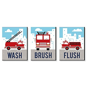 Fired Up Fire Truck - Kids Bathroom Rules Wall Art - 7.5 x 10 inches - Set of 3 Signs - Wash, Brush, Flush