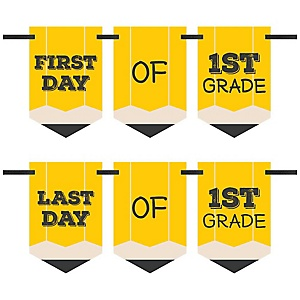 1st Grade - Back To School - First & Last Day of School Bunting Banner Photo Prop
