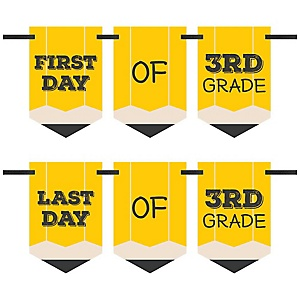 3rd Grade - Back To School - First & Last Day of School Bunting Banner Photo Prop