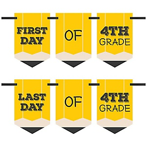 4th Grade - Back To School - First & Last Day of School Bunting Banner Photo Prop