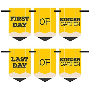 Kindergarten - Back To School - First & Last Day of School Bunting Banner Photo Prop