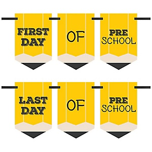 Preschool - Back To School - First & Last Day of School Bunting Banner Photo Prop