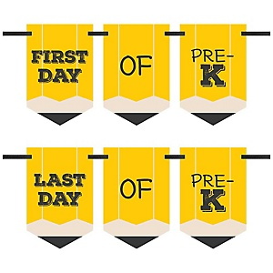 Pre-K - Back To School - First & Last Day of School Bunting Banner Photo Prop