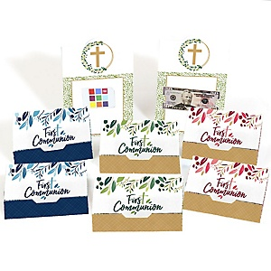 First Communion Elegant Cross - Assorted Religious Party Money And Gift Card Holders - Set of 8
