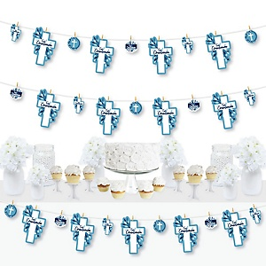 First Communion Blue Elegant Cross - Boy Religious Party DIY Decorations - Clothespin Garland Banner - 44 Pieces