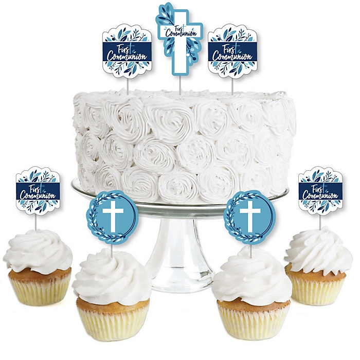 First Communion Blue Elegant Cross - Dessert Cupcake Toppers - Boy Religious Party Clear Treat Picks - Set of 24