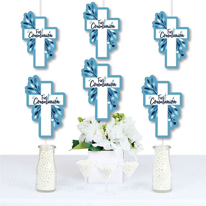 First Communion Blue Elegant Cross - Decorations DIY Boy Religious Party Essentials - Set of 20