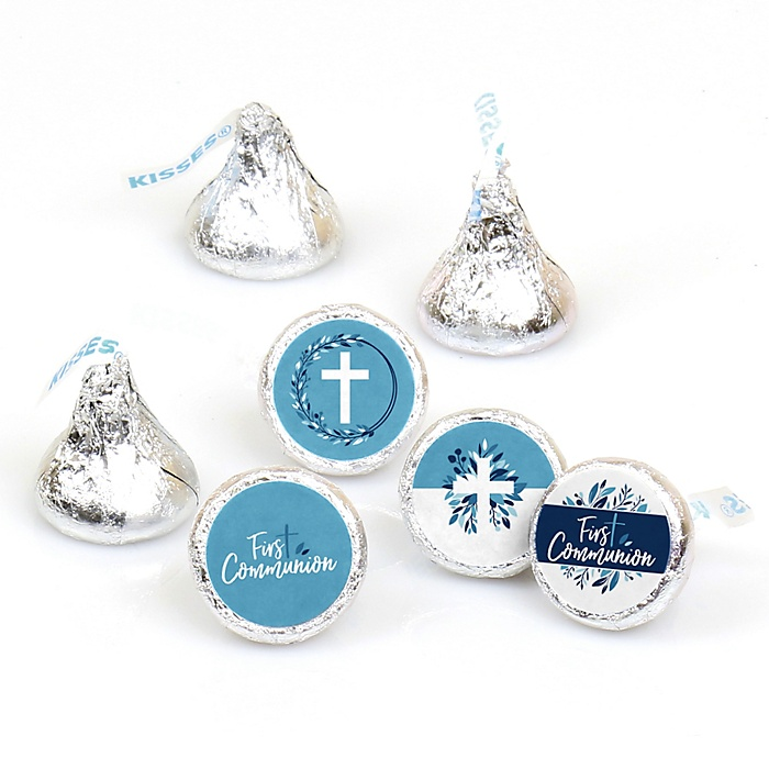 First Communion Blue Elegant Cross - Boy Religious Party Round Candy Sticker Favors - Labels Fit Hershey's Kisses - 108 ct