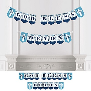 First Communion Blue Elegant Cross - Personalized Boy Religious Party Bunting Banner and Decorations