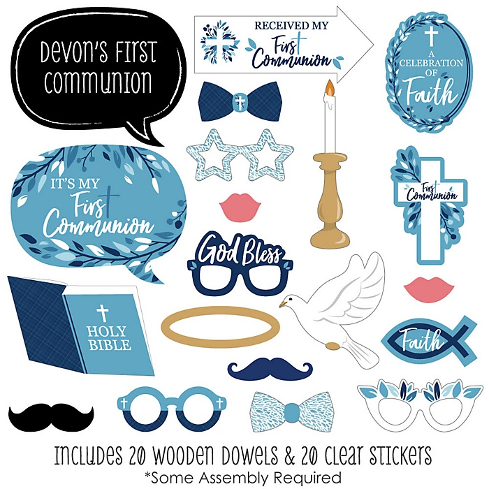 First Communion Blue Elegant Cross - 20 Piece Boy Religious Party Photo Booth Props Kit
