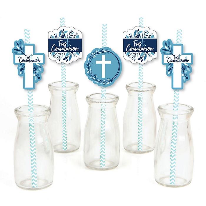First Communion Blue Elegant Cross - Paper Straw Decor - Boy Religious Party Striped Decorative Straws - Set of 24