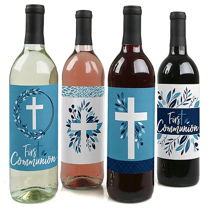 First Communion Blue Elegant Cross - Boy Religious Party Decorations for Women and Men - Wine Bottle Label Stickers - Set of 4