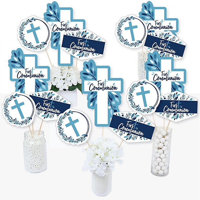First Communion Blue Elegant Cross - Boy Religious Party Centerpiece Sticks - Table Toppers - Set of 15