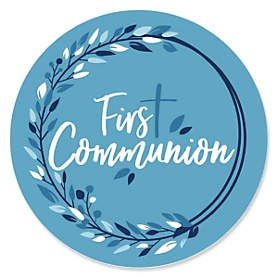 First Communion Blue Elegant Cross - Religious Party Theme