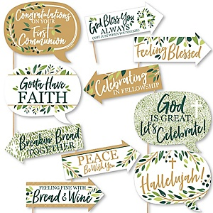 Funny First Communion Elegant Cross - Religious Party 10 Piece Photo Booth Props Kit