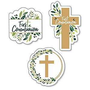 First Communion Elegant Cross - DIY Shaped Religious Party Cut-Outs - 24 ct