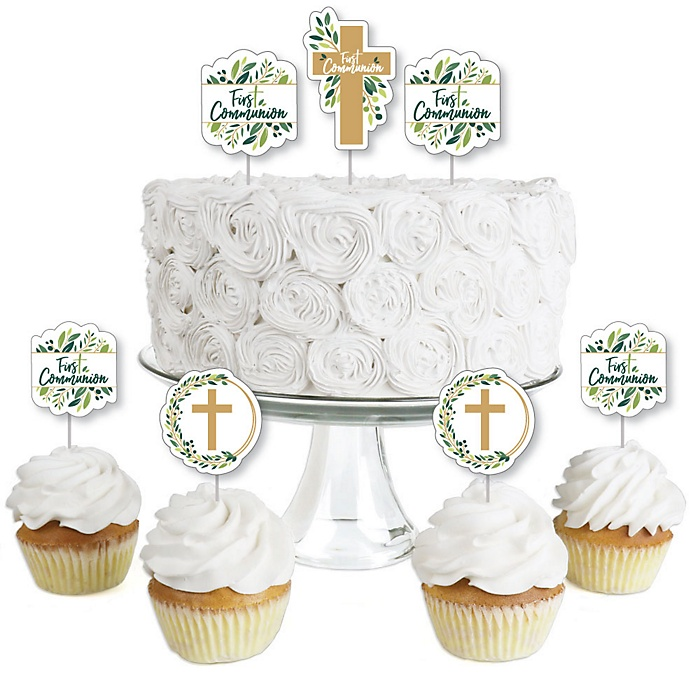 First Communion Elegant Cross - Dessert Cupcake Toppers - Religious Party Clear Treat Picks - Set of 24